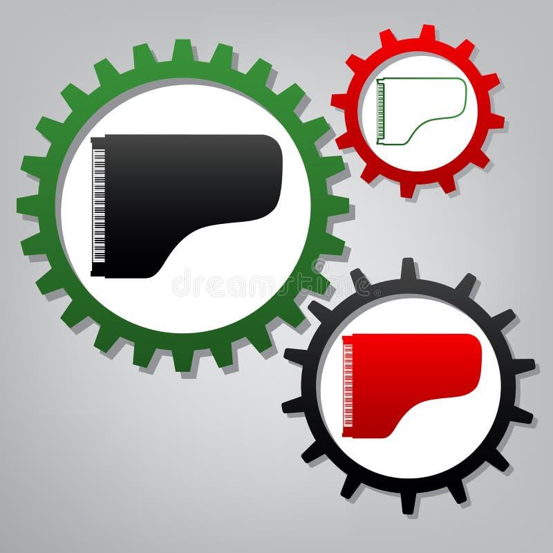 Konsertflygeltecken vektor Tre förbindelsekugghjul med ico royaltyfri illustrationer