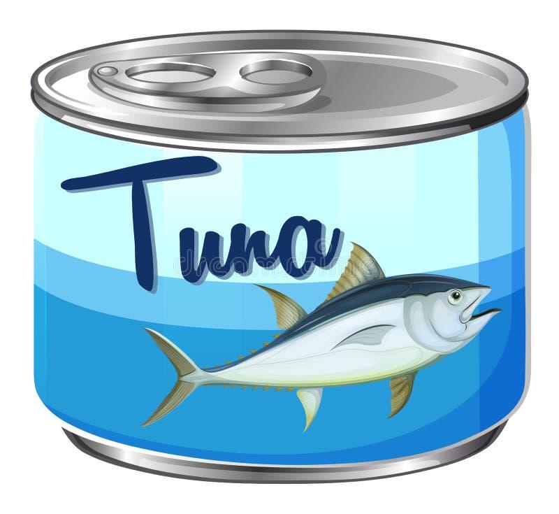 Konserven mit Thunfisch nach innen lizenzfreie abbildung