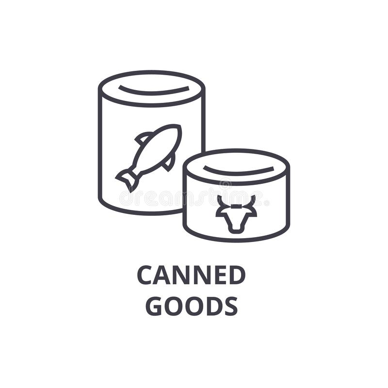 Konserven zeichnen Ikone, Entwurfszeichen, lineares Symbol, Vektor, flache Illustration lizenzfreie abbildung