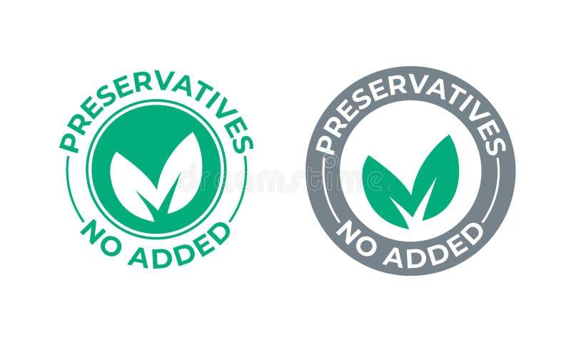 Konserwanty żadny dodająca wektor zieleni liścia ikona Konserwanty uwalniają foka znaczek, naturalny żywność organiczna pakunek ilustracja wektor