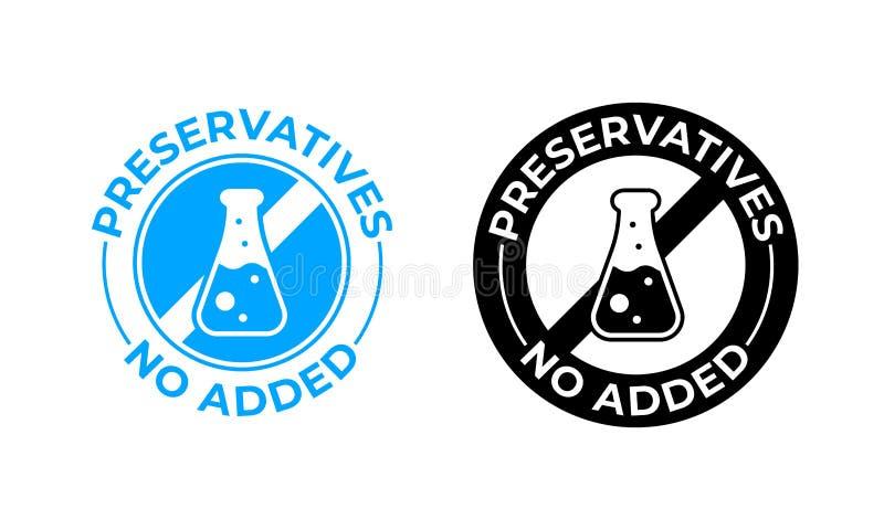 Konserwanty żadny dodająca wektorowa ikona Medically testowany, konserwanty uwalniają pakunek fokę royalty ilustracja