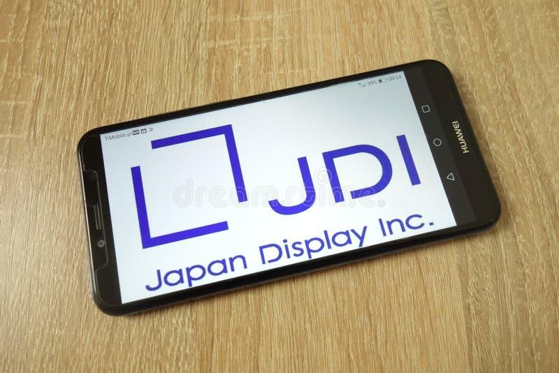 KONSKIE, ΠΟΛΩΝΙΑ - 21 Ιουνίου 2019: Λογότυπο επιχείρησης της Ιαπωνίας Display Inc στο κινητό τηλέφωνο στοκ εικόνες