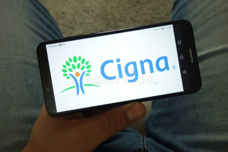 KONSKIE, ПОЛЬША - 29-ое июня 2019: Логотип организации здравоохранения Cigna на мобильном телефоне стоковое изображение