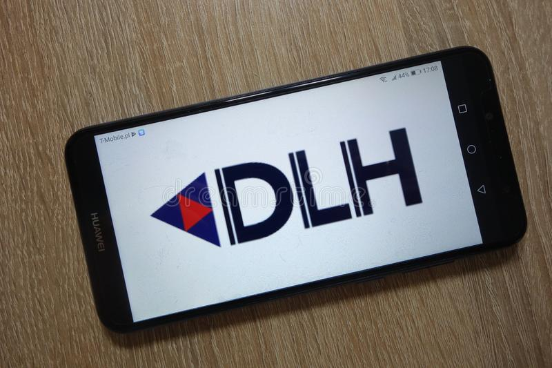DLH Holdings Corp. logo displayed on smartphone. KONSKIE, POLAND - December 01, 2018: DLH Holdings Corp. logo displayed on smartphone royalty free stock photos