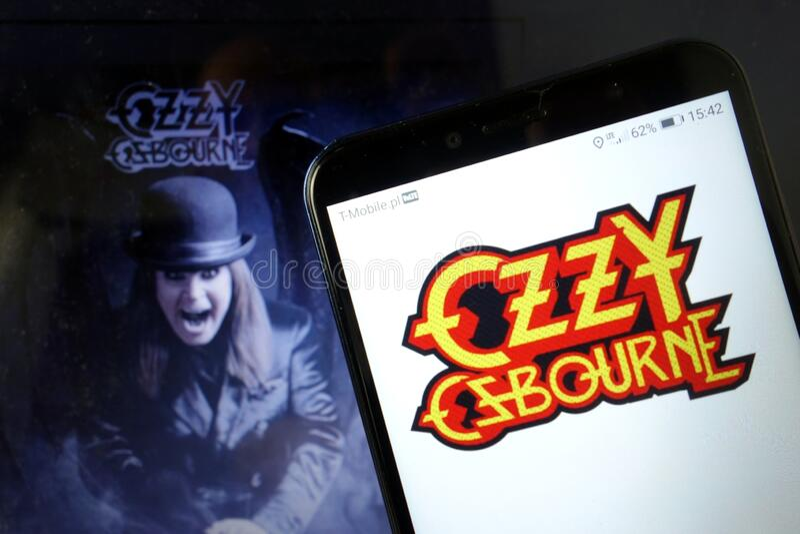 KONSKIE, POLAND - January 11, 2020: Ozzy Osbourne logo on mobile phone. KONSKIE, POLAND - January 11, 2020: Ozzy Osbourne logo displayed on mobile phone stock photography