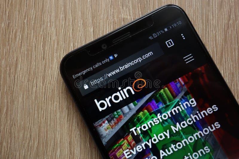 Brain Corp website displayed on a modern smartphone. KONSKIE, POLAND - JULY 26, 2018: Brain Corp website displayed on a modern smartphone royalty free stock images