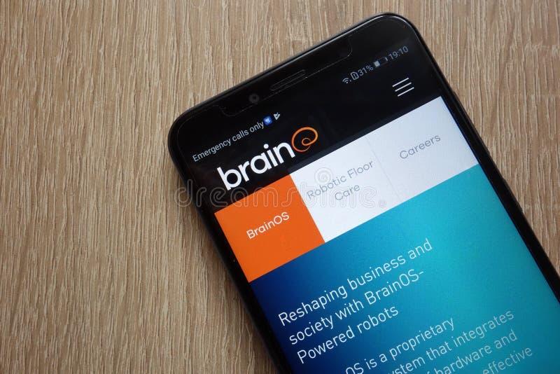 Brain Corp website displayed on a modern smartphone. KONSKIE, POLAND - JULY 26, 2018: Brain Corp website displayed on a modern smartphone royalty free stock photos