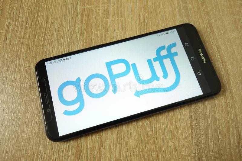 KONSKIE, POLAND - June 21, 2019: goPuff service logo on mobile phone stock image