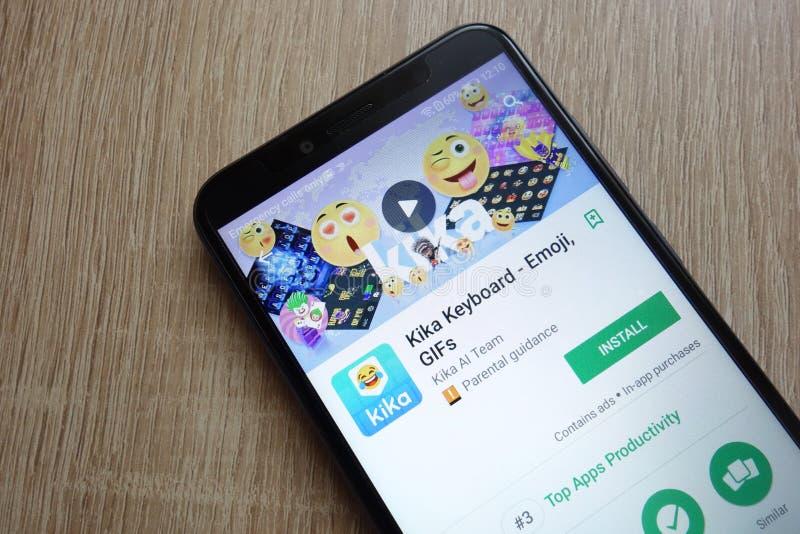 Kika Keyboard app on Google Play Store website displayed on Huawei Y6 2018 smartphone. KONSKIE, POLAND - JUNE 17, 2018: Kika Keyboard app on Google Play Store royalty free stock photos