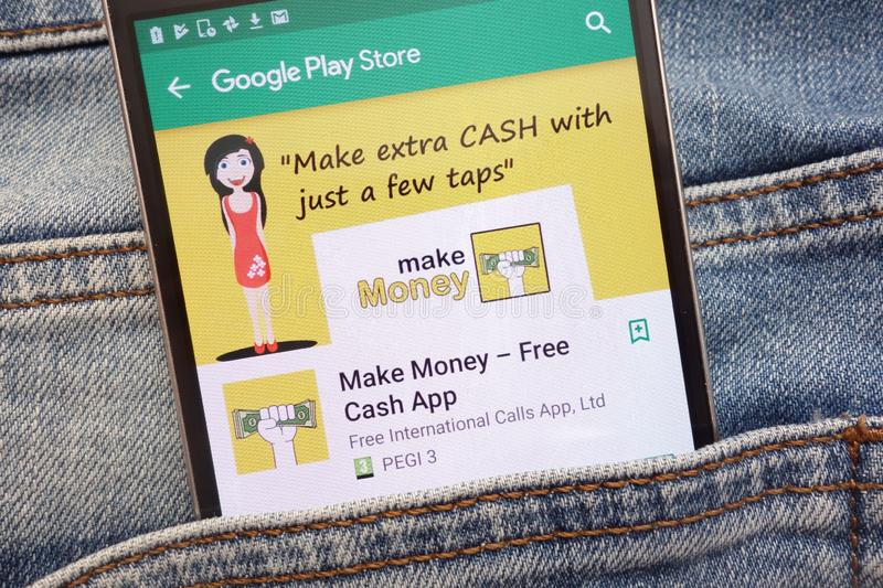 Make Money - Free Cash App on Google Play Store website displayed on smartphone hidden in jeans pocket royalty free stock images