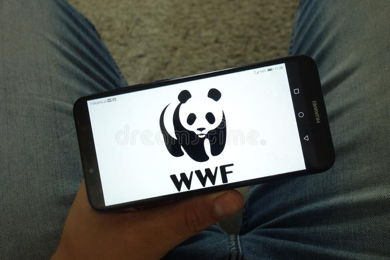 KONSKIE, POLAND - June 29, 2019: World Wide Fund for Nature - WWF logo on mobile phone royalty free stock images