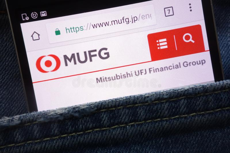 The Bank of Tokyo - Mitsubishi UFJ Financial Group MUFG website displayed on smartphone hidden in jeans pocket. KONSKIE, POLAND - MAY 19, 2018: The Bank of Tokyo royalty free stock photography