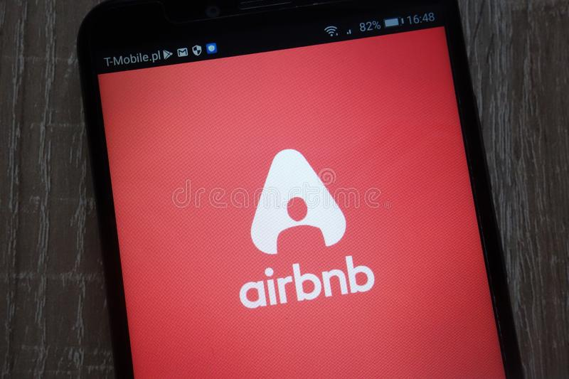 Airbnb logo displayed on a modern smartphone stock photo