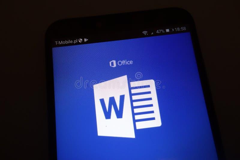 Microsoft Word logo on smartphone. KONSKIE, POLAND - SEPTEMBER 22, 2018: Microsoft Word logo on smartphone royalty free stock image