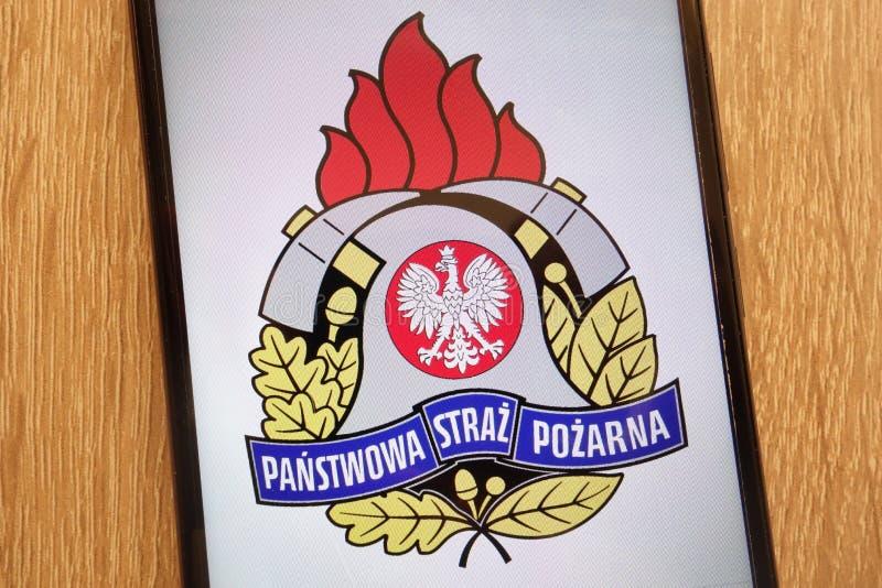 Panstwowa Straz Pozarna Polish fire brigade logo displayed on a modern smartphone stock photo