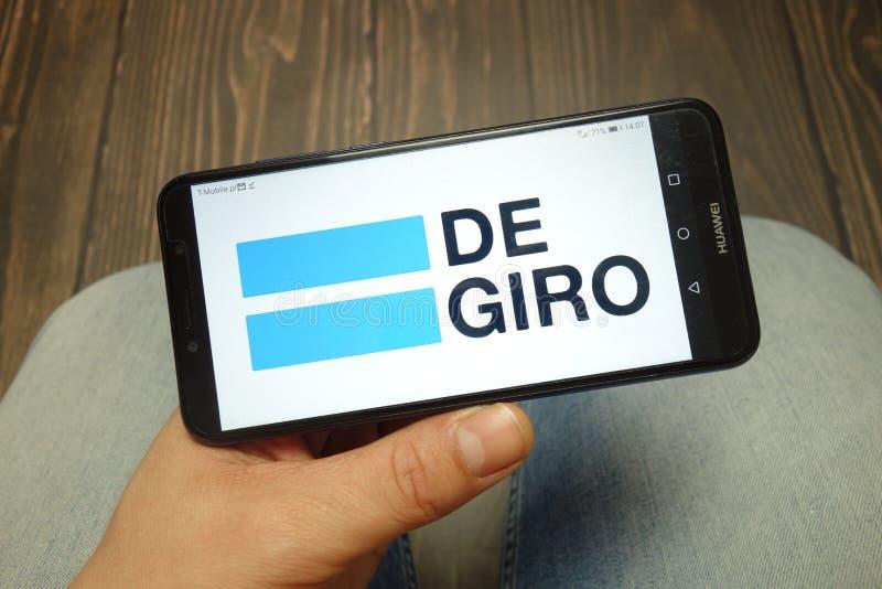 KONSKIE, POLEN - 5. MAI 2019: Degiro-Maklergesellschaftslogo angezeigt auf Smartphone lizenzfreies stockfoto