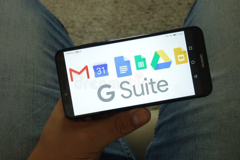 KONSKIE, POLONIA - 29 de junio de 2019: La habitación de Google incluyendo el calendario doc. de Gmail cubre la impulsión y desli imagen de archivo libre de regalías