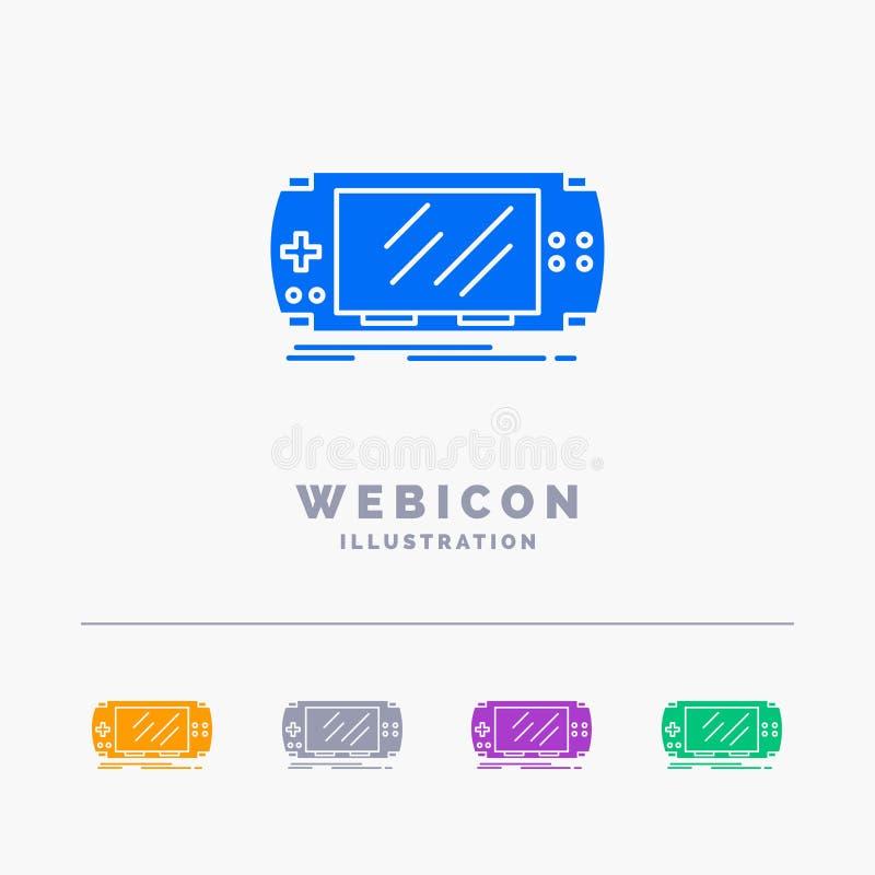 Konsol apparat, lek, dobbel, för färgskåra för psp som 5 mall för symbol för rengöringsduk isoleras på vit ocks? vektor f?r corel stock illustrationer
