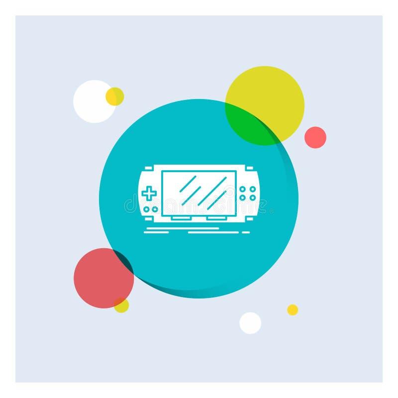 Konsol apparat, lek, dobbel, för vit bakgrund för cirkel skårasymbol för psp färgrik royaltyfri illustrationer