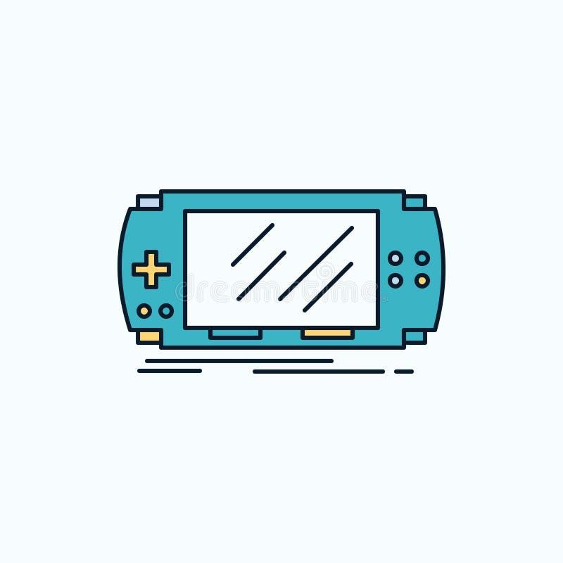Konsol apparat, lek, dobbel, plan symbol för psp gr?nt och gult tecken och symboler f?r website och mobil appliation vektor stock illustrationer