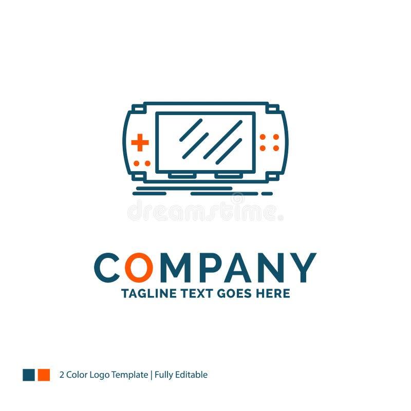Konsol apparat, lek, dobbel, psp Logo Design blå orange royaltyfri illustrationer