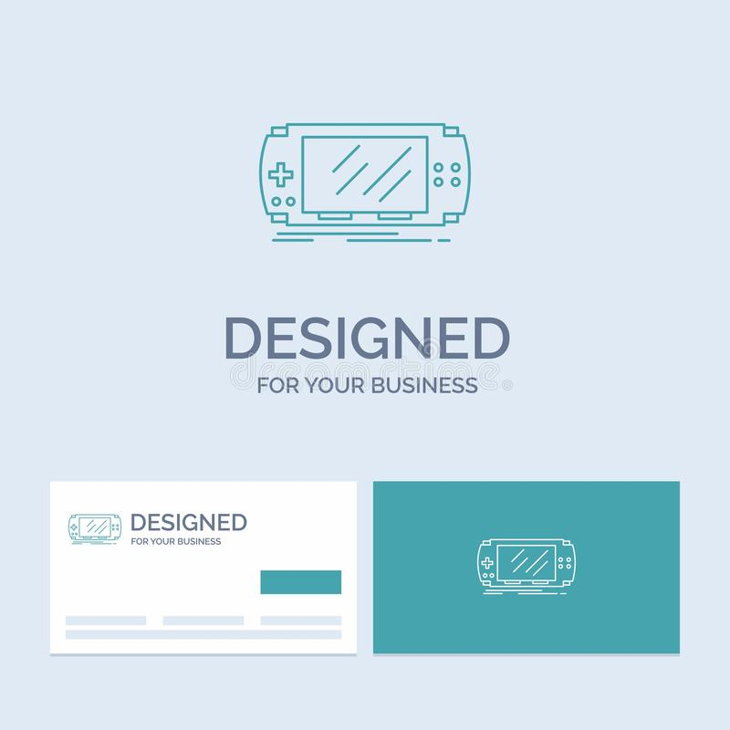 Konsol apparat, lek, dobbel, pspaffär Logo Line Icon Symbol för din affär Turkosaff?rskort med m?rkeslogo royaltyfri illustrationer