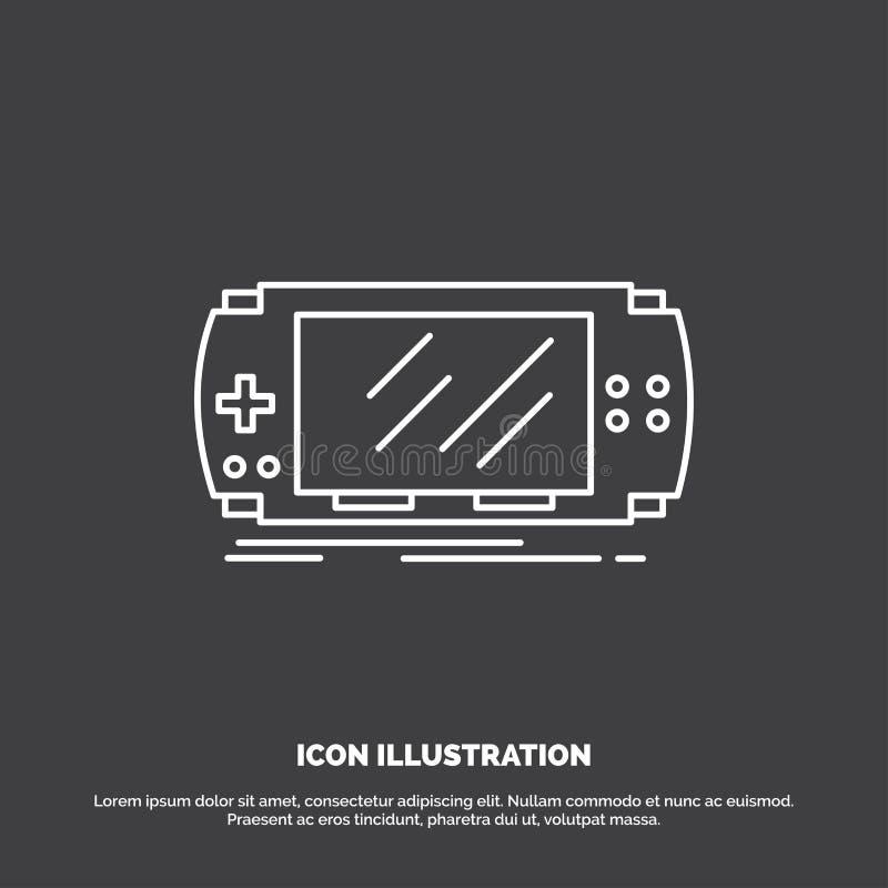 Konsol apparat, lek, dobbel, pspsymbol Linje vektorsymbol f?r UI och UX, website eller mobil applikation royaltyfri illustrationer