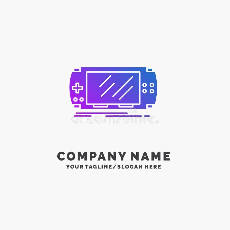 Konsol apparat, lek, dobbel, purpurfärgad affär Logo Template för psp St?lle f?r Tagline stock illustrationer