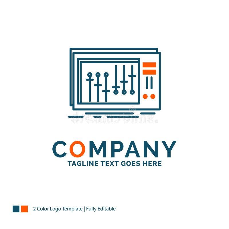 Konsol dj, blandare, musik, studio Logo Design Blått och orange B royaltyfri illustrationer