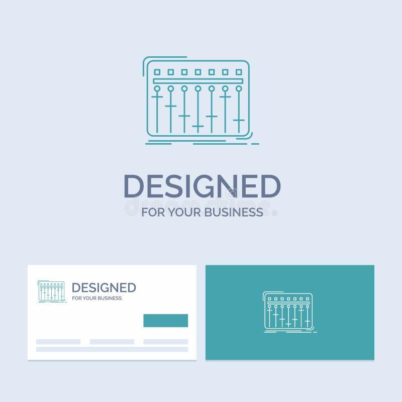 Konsol dj, blandare, musik, studioaffär Logo Line Icon Symbol för din affär Turkosaff?rskort med m?rkeslogo vektor illustrationer