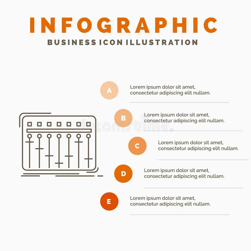 Konsol, dj, blandare, musik, studioInfographics mall f?r Website och presentation Linje gr? symbol med orange infographic stil royaltyfri illustrationer