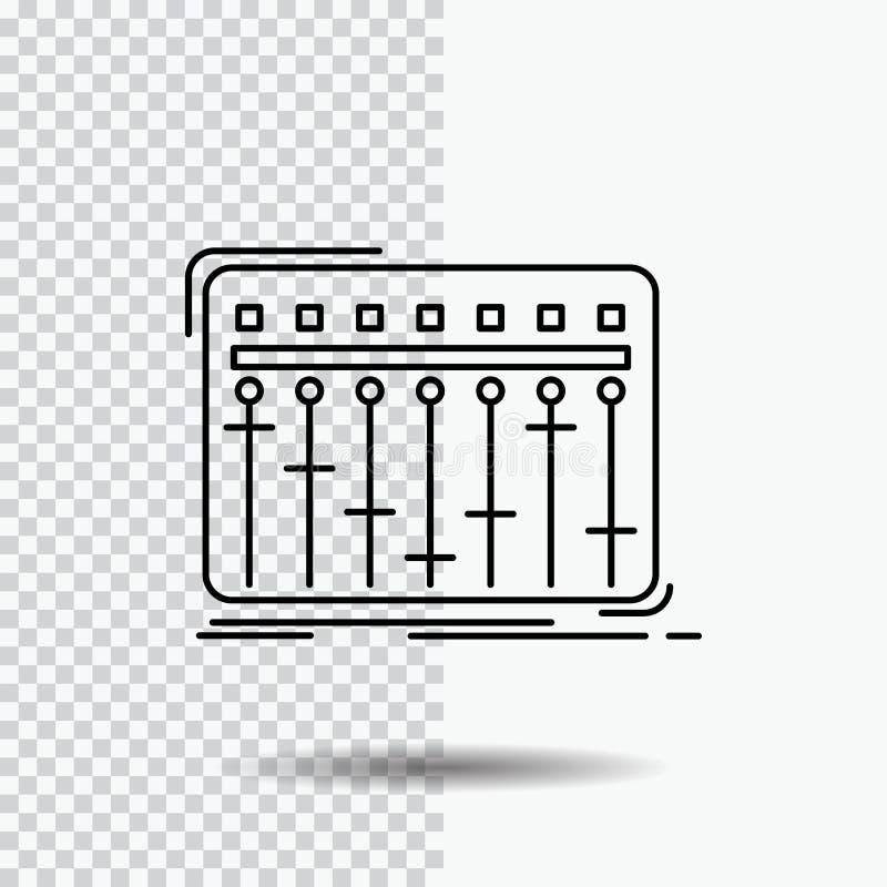 Konsol dj, blandare, musik, studiolinje symbol p? genomskinlig bakgrund Svart symbolsvektorillustration vektor illustrationer