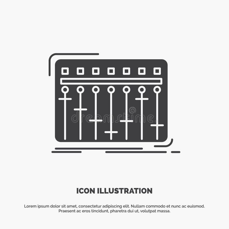 Konsol dj, blandare, musik, studiosymbol gr?tt symbol f?r sk?ravektor f?r UI och UX, website eller mobil applikation stock illustrationer