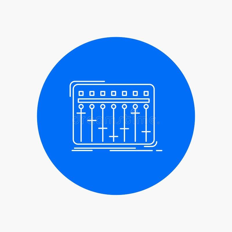 Konsol dj, blandare, musik, vit linje symbol för studio i cirkelbakgrund Vektorsymbolsillustration vektor illustrationer