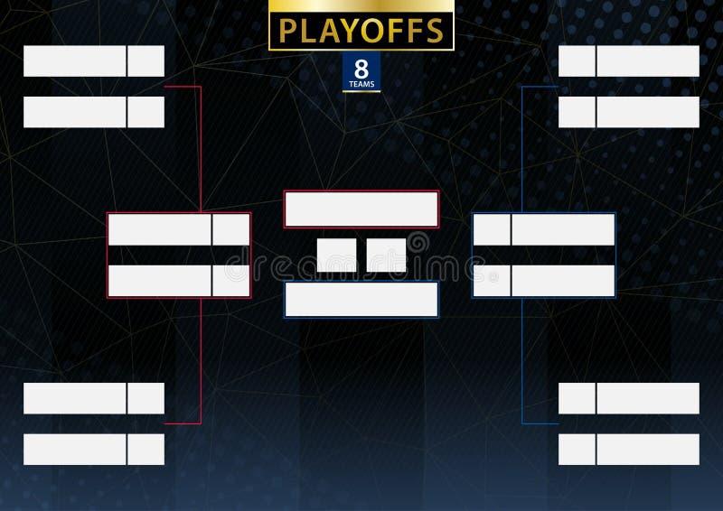 Konsol för turnering för två konferens för 8 lag eller spelare på mörk bakgrund stock illustrationer