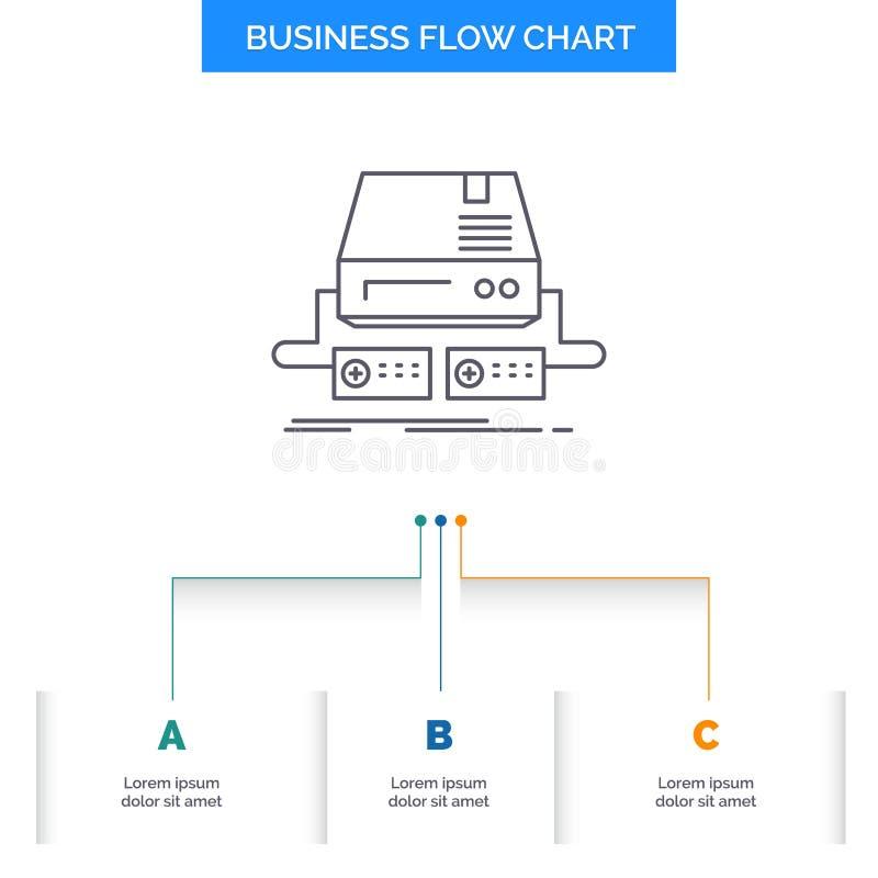Konsol lek, dobbel, block, design för diagram för drevaffärsflöde med 3 moment Linje symbol f?r st?lle f?r presentationsbakgrunds vektor illustrationer