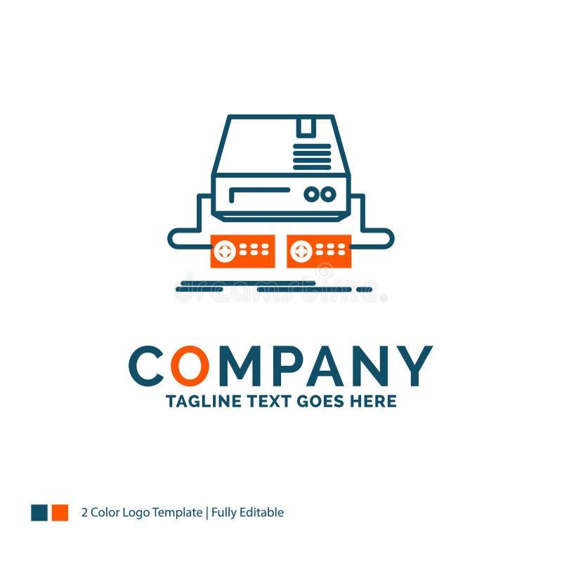 Konsol lek, dobbel, block, drev Logo Design Blått och orange B royaltyfri illustrationer