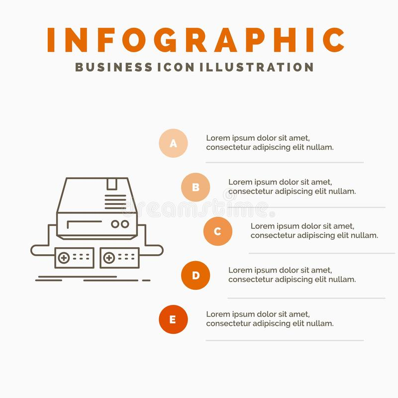 Konsol, lek, dobbel, block, drevInfographics mall f?r Website och presentation Linje gr? symbol med orange infographic stil royaltyfri illustrationer