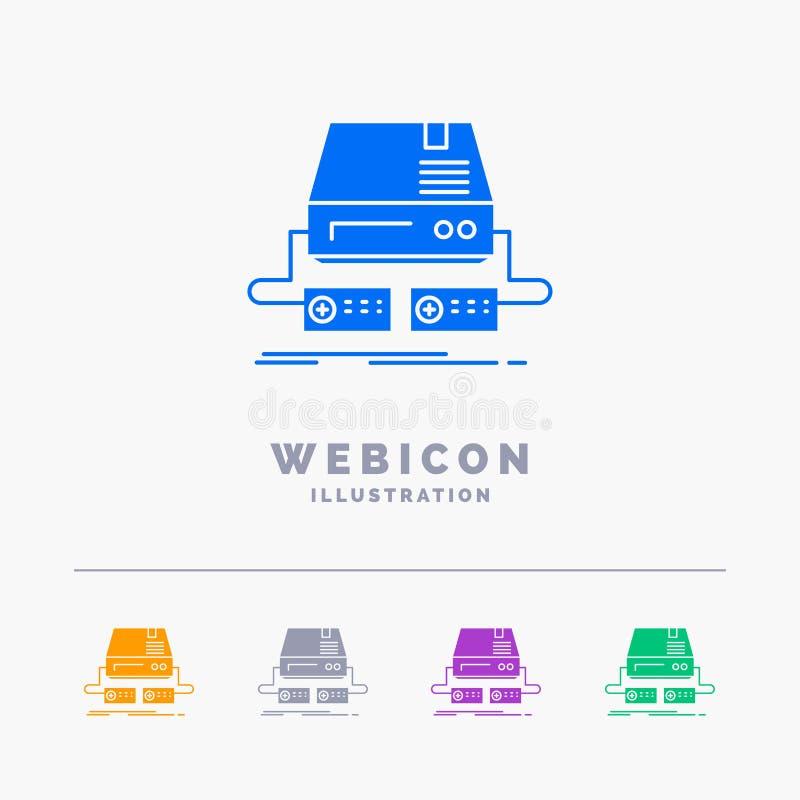 Konsol lek, dobbel, block, för färgskåra för drev som 5 mall för symbol för rengöringsduk isoleras på vit ocks? vektor f?r coreld royaltyfri illustrationer