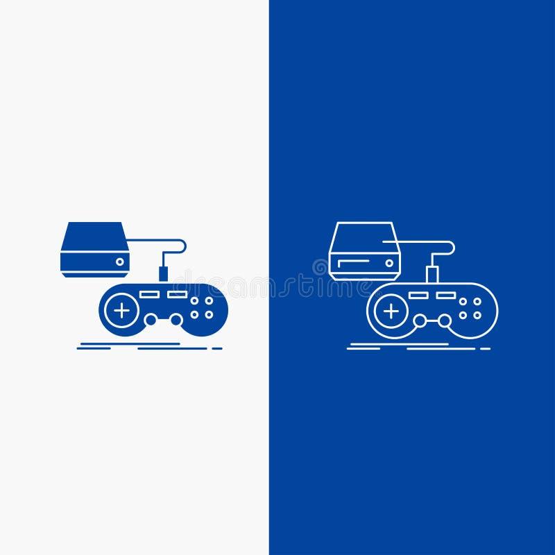 Konsol, lek, dobbel, playstation, knapp för leklinje- och skårarengöringsduk i det vertikala banret för blå färg för UI och UX, w stock illustrationer