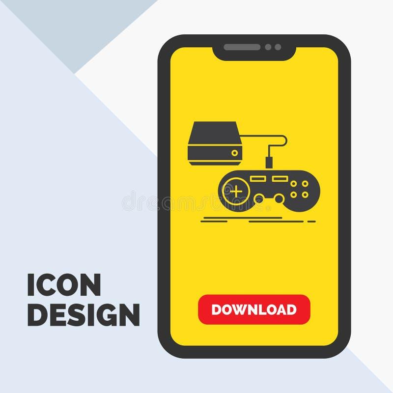 Konsol lek, dobbel, playstation, lekskårasymbol i mobilen för nedladdningsida Gul bakgrund royaltyfri illustrationer