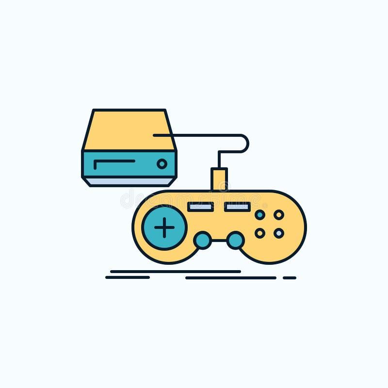 Konsol lek, dobbel, playstation, plan symbol för lek gr?nt och gult tecken och symboler f?r website och mobil appliation vektor stock illustrationer