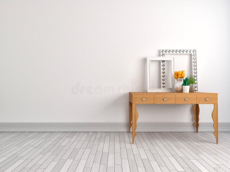 Konsola stół w klasycznym żywym izbowym wnętrzu ilustracja 3 d ilustracja wektor