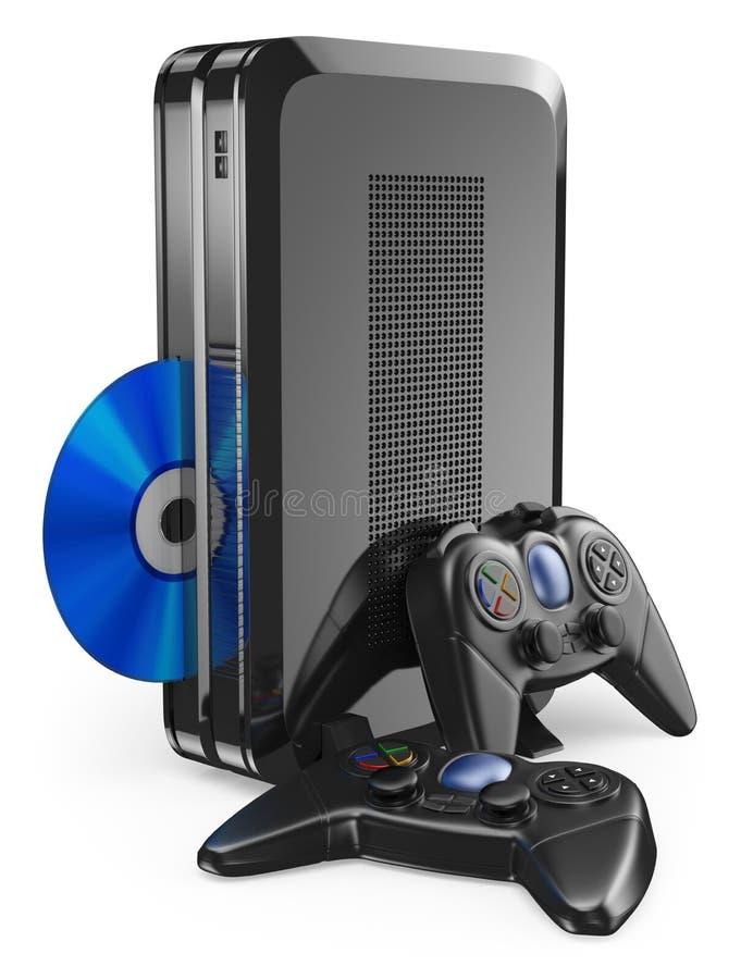 Konsole des Spiels 3D mit gamepad lizenzfreie abbildung
