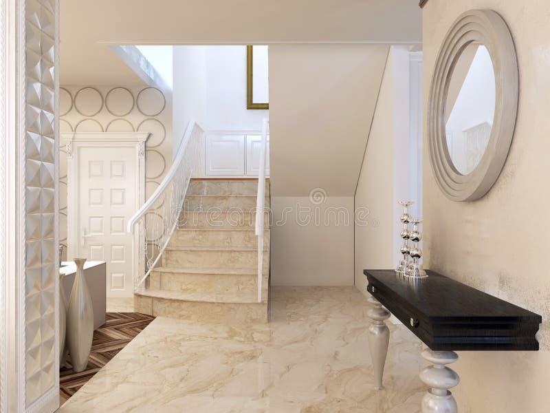 Spiegel Treppen konsole mit spiegel auf der wand im bereich der treppe stock