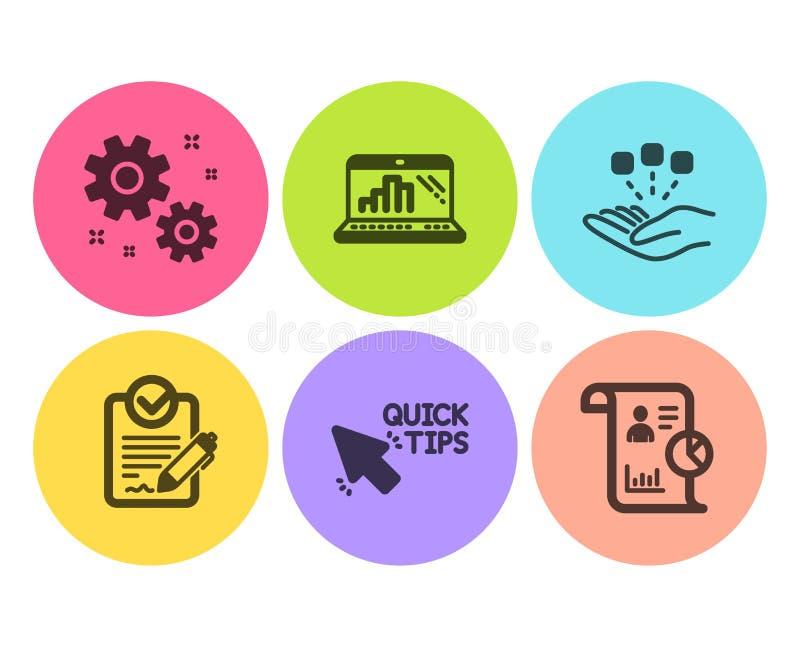 Konsolidacji, pracy i wykresu laptopu ikony ustawiać, Szybkie porady, znaki, Rfp i raportu Strategia, położenia wektor ilustracji