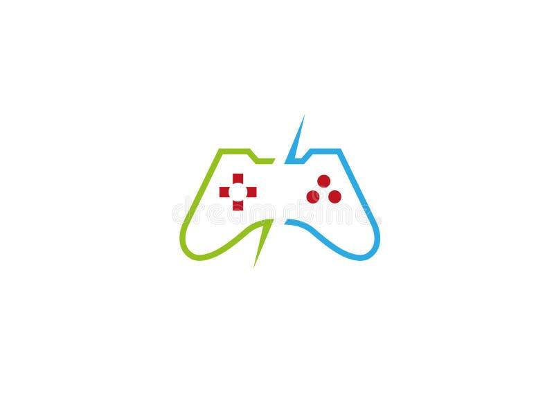 Konsolvideospel en kontrollantgrej för logo royaltyfri illustrationer