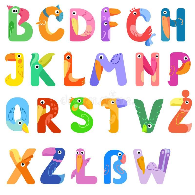 Konsonanten des lateinischen Alphabetes mögen verschiedene Vögel stock abbildung