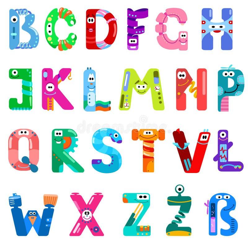 Konsonanter av det latinska alfabetet gillar olika robotar stock illustrationer