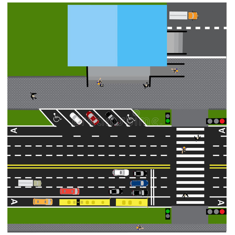 Konspirera vägen, huvudvägen, gata, med lagret Med olika bilar Korsning- och parkeringskort stock illustrationer